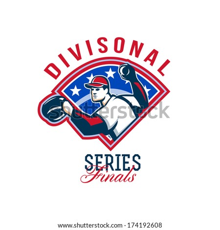 Illustration of a american baseball player pitcher outfielder throwing ball with words Divisional Series Finals. - stock photo