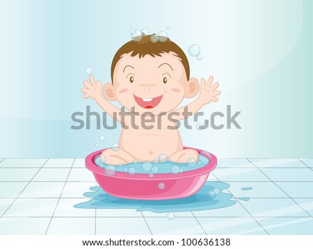 Illustration of a baby having a bath - EPS VECTOR format also available in my portfolio.