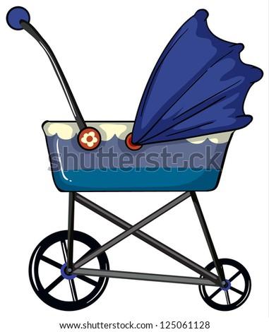 Illustration of a baby pram on a white background - stock photo