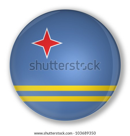 Illustration of a badge flag of Aruba with shadow - stock photo