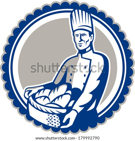 Illustration of a baker chef cook holding basket filled with loaf of bread facing front set inside circle done in retro style. - stock photo