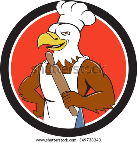 Illustration of a bald eagle baker chef cook holding rolling pin looking to the side  set inside circle done in cartoon style.