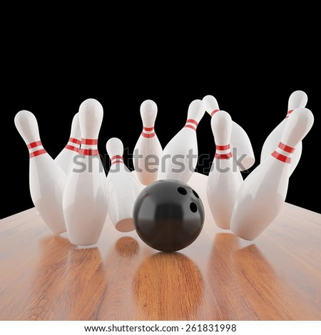 Illustration of a ball hitting the pins on the wooden floor. 3d illustration high resolution - stock photo