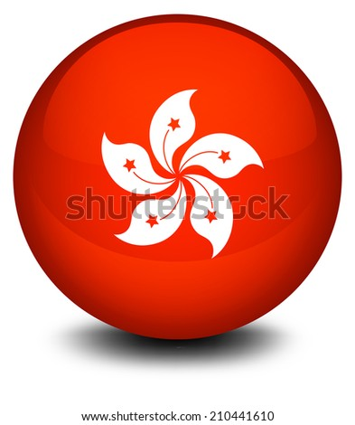 Illustration of a ball with the flag of Hongkong on a white background