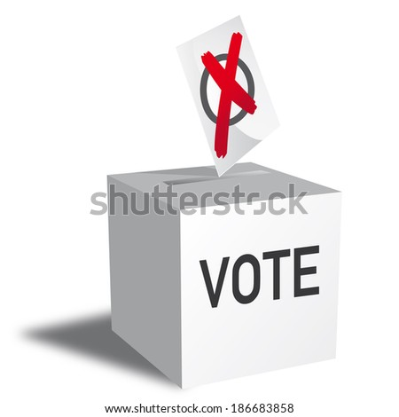 Illustration of a ballot box. Democracies elect holders of high office by voting - stock photo