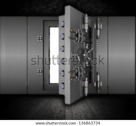 Illustration of a bank vault in a grunge interior - stock photo