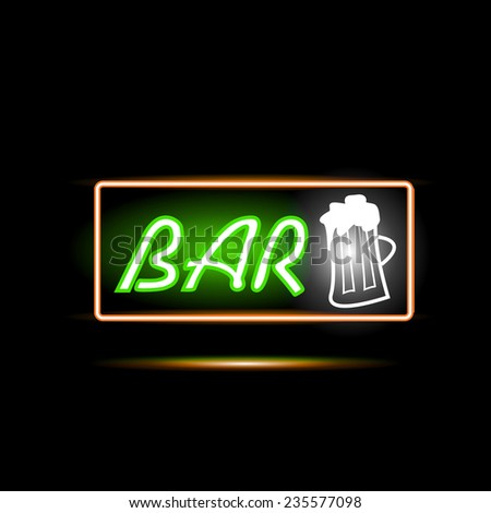 Illustration of a Bar neon sign against a dark background. - stock photo