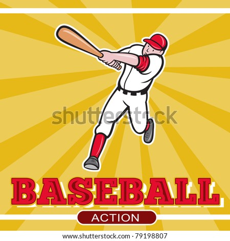 illustration of a baseball player batting cartoon style set inside square and ball in background with words Baseball Action - stock photo