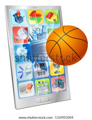 Illustration of a basketball ball flying out of mobile phone screen - stock photo