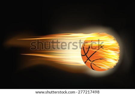 illustration of a basketball on fire - stock photo