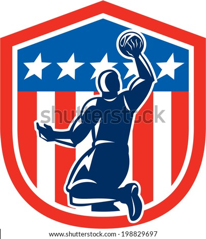 Illustration of a basketball player dunking rebounding ball viewed from the rear set inside American stars and stripes flag shield crest done in retro style.