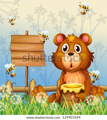 Illustration of a bear and bees near a signage - stock photo