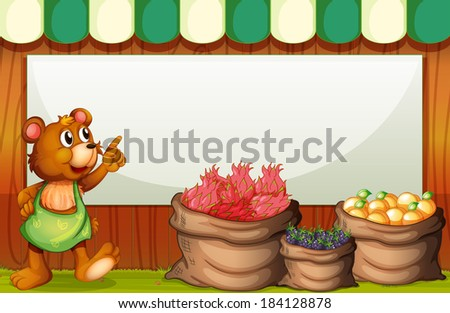 Illustration of a bear at the market with an empty template at the back - stock photo