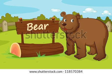 illustration of a bear in a beautiful nature - stock photo