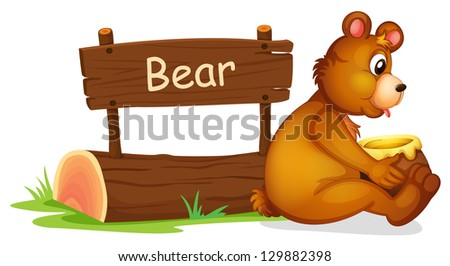 Illustration of a bear sitting beside a wooden signage on a white background
