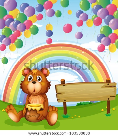 Illustration of a bear sitting beside the empty board with balloons and a rainbow - stock photo