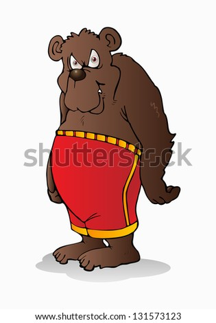 illustration of a bear wearing pant on a isolated white background
