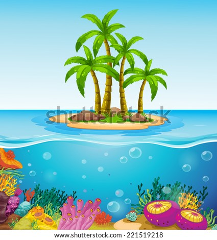Illustration of a beautiful island in the middle of the sea - stock photo