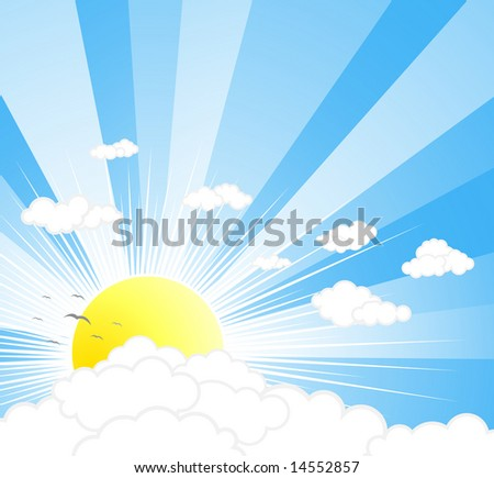 Illustration of a beautiful sunny sky with rays, clouds and birds.