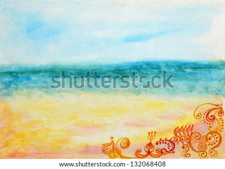 Illustration of a beautiful view of the southern sea with east pattern