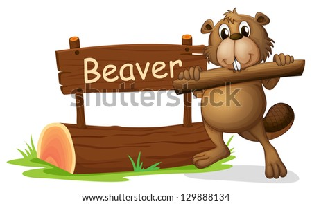 Illustration of a beaver beside the wooden signboard on a white background