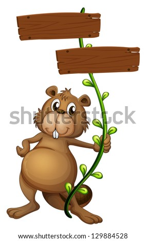 Illustration of a beaver holding a vine plant with signboards on a white background - stock photo