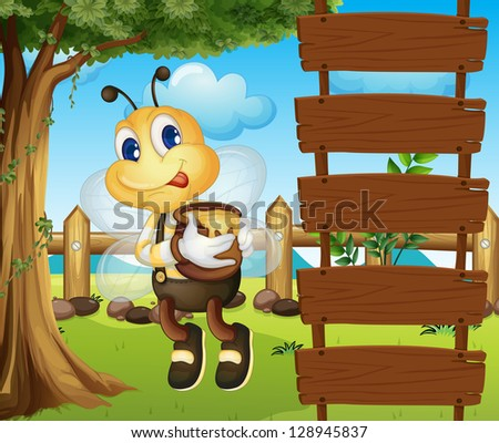 Illustration of a bee and the empty signboards