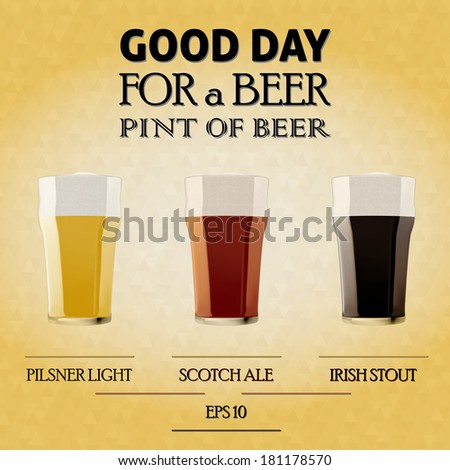 Illustration of a beers pilsner, ale, stout in pint glass on triangles gold background.- bitmap - stock photo