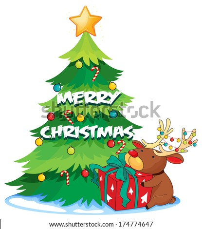 Illustration of a big christmas tree beside the reindeer hugging the gift on a white background