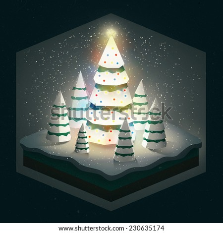 Illustration of a big Christmas tree with lights and a star surrounded by smaller trees placed on a small square landscape covered in snow
