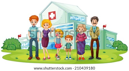 Illustration of a big family near the hospital on a white background - stock photo