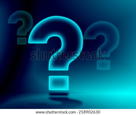 Illustration of a big light blue neon question mark with a dark background. - stock photo