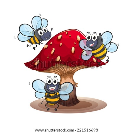 Illustration of a big mushroom with smiling bees on a white background