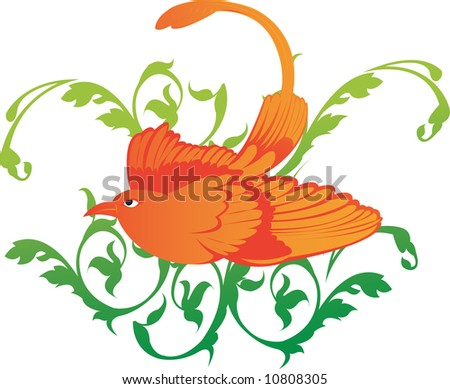 Illustration of a bird with decorated leaves