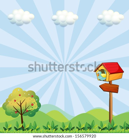 Illustration of a birdhouse at the hilltop with an arrowboard - stock photo