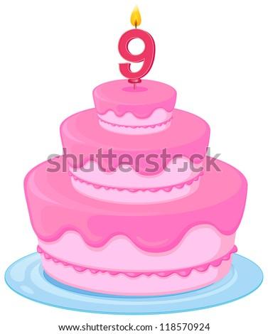 illustration of a birthday cake on a white background - stock photo