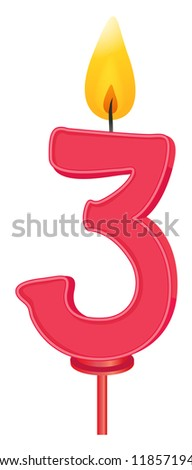 Illustration of a birthday candle number - stock photo