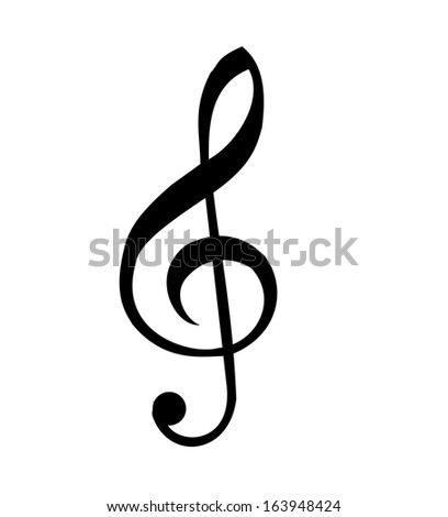 Illustration of a black clef isolated on white background - stock photo