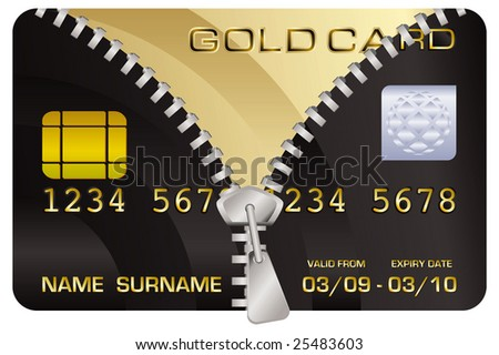 Illustration of a black credit card being upgraded to a gold card - stock photo