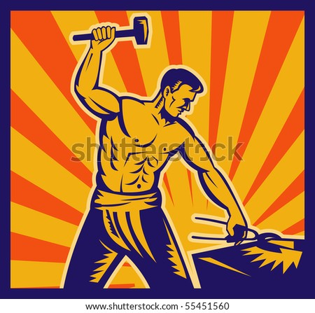 illustration of a Blacksmith at work wielding a hammer with sunburst in background done in retro woodcut style.