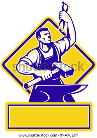 Illustration of a blacksmith holding a hammer and raising up pliers with anvil in front and diamond in background done in retro style.