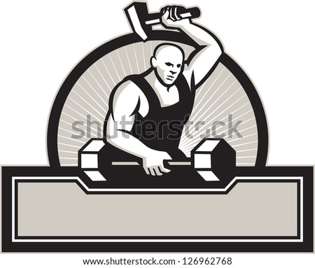 Illustration of a blacksmith with hammer forging striking a barbell set inside circle on isolated white background.
