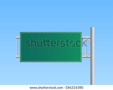 Illustration of a blank highway sign with a blue sky background. - stock photo