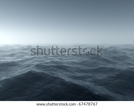 Illustration of a bleak and cold stormy seascape - stock photo