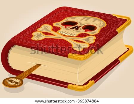 illustration of a bloody skull horror book - raster version. - stock photo