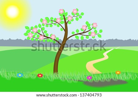 Illustration of a blossoming tree