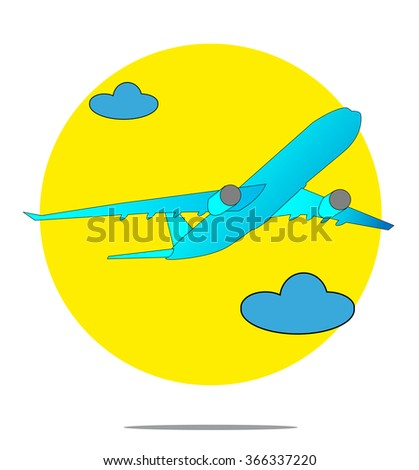 Illustration of a blue airplane with yellow circle background - stock photo