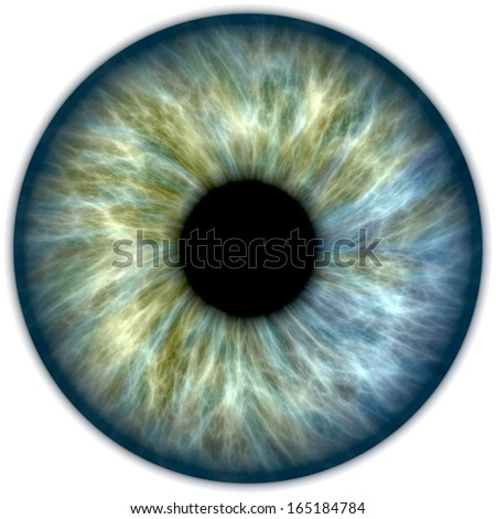 Illustration of a blue and green human iris - stock photo