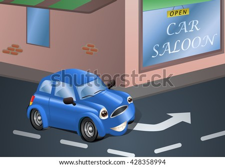 illustration of a blue car going to repair on car saloon background - stock photo