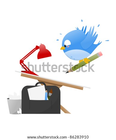 Illustration of a Blue Cartoonist Bird drawing on an artist table